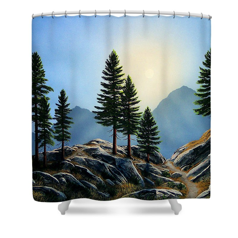 Landscape Shower Curtain featuring the painting Sierra Sentinals by Frank Wilson