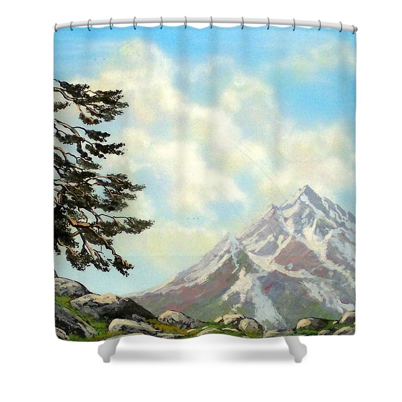 Wildflowers Shower Curtain featuring the painting Sierra Warriors by Frank Wilson