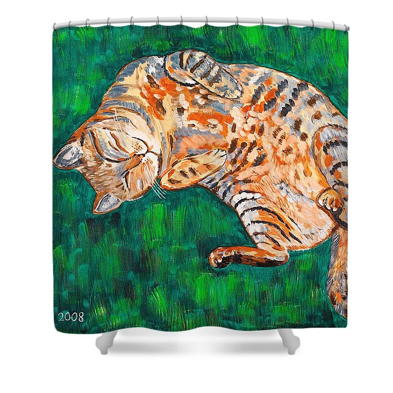 Siesta Shower Curtain featuring the painting Siesta by Valerie Ornstein