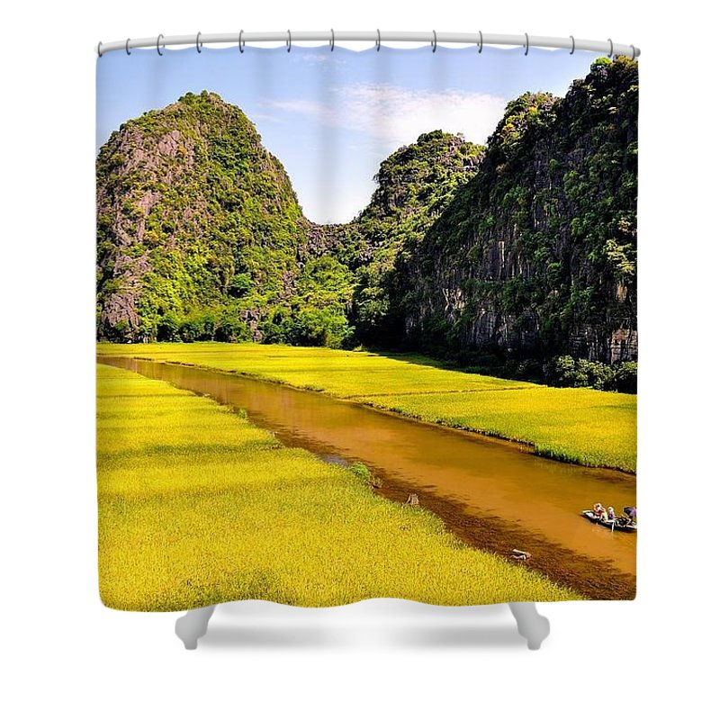 Shower Curtain featuring the photograph sighseeing on Ngo Dong river by Ngoc Anh Vu