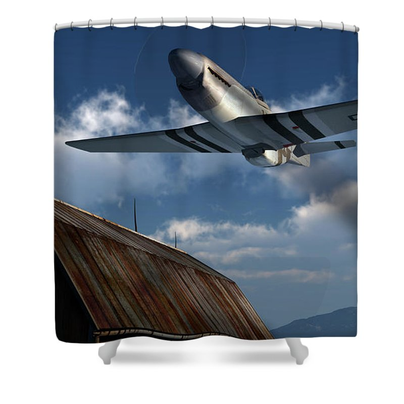 Aviation Shower Curtain featuring the digital art Sightseeing by Richard Rizzo