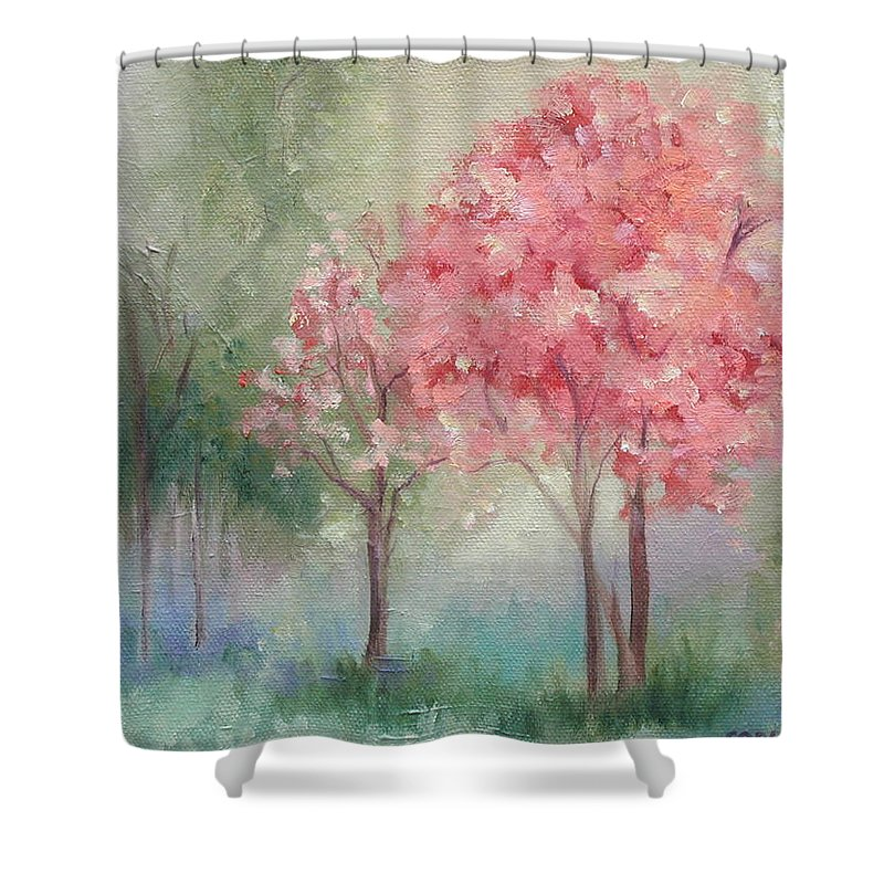 Spring Shower Curtain featuring the painting Sign Of Spring by Ginger Concepcion