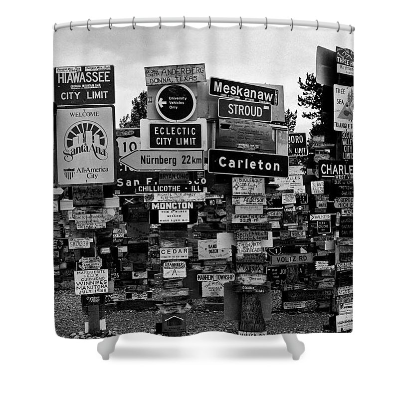 North America Shower Curtain featuring the photograph Sign Post Forest by Juergen Weiss
