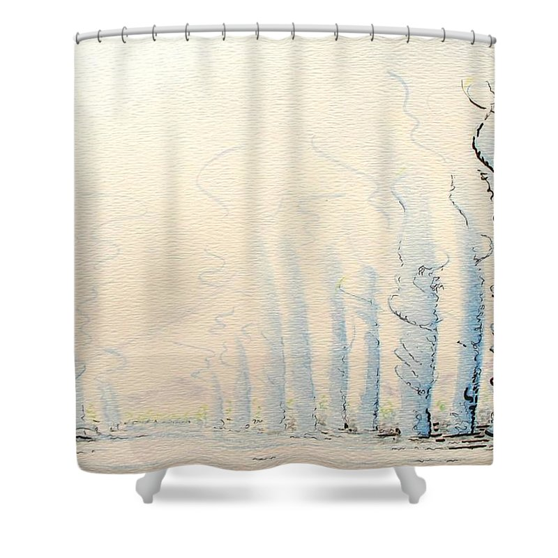 Watercolor Shower Curtain featuring the painting Signals by Dave Martsolf