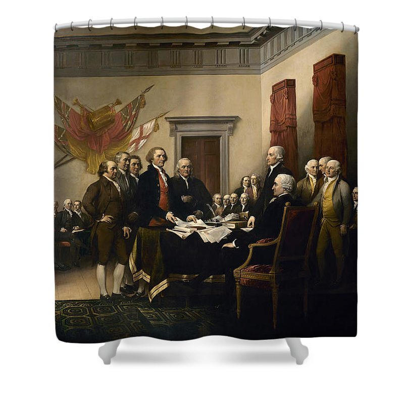 Declaration Of Independence Shower Curtain featuring the painting Signing The Declaration Of Independence by War Is Hell Store