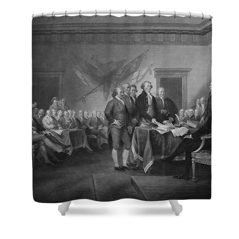 Declaration Of Independence Shower Curtain featuring the mixed media Signing The Declaration Of Independence by War Is Hell Store