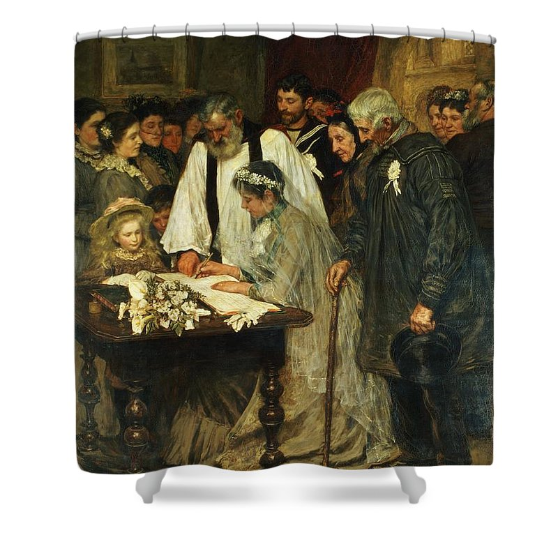 Signing Shower Curtain featuring the painting Signing The Marriage Register by James Charles