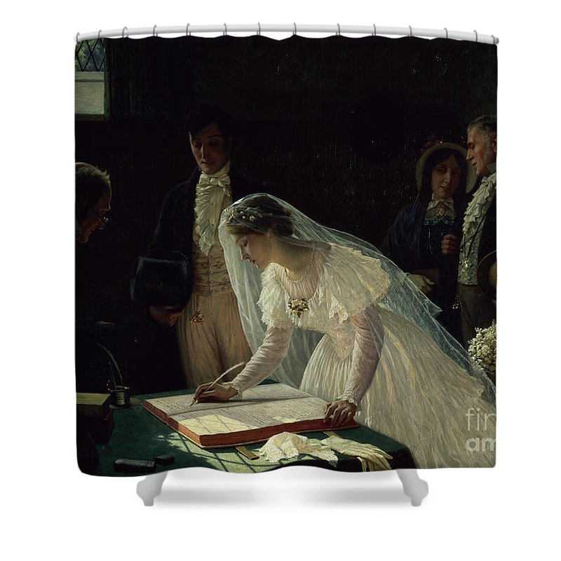 Signing Shower Curtain featuring the painting Signing the Register by Edmund Blair Leighton