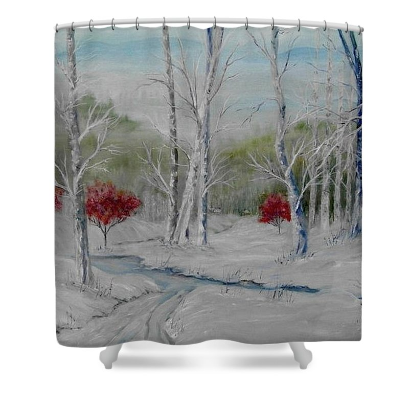 Snow; Winter; Birch Trees Shower Curtain featuring the painting Silence by Ben Kiger