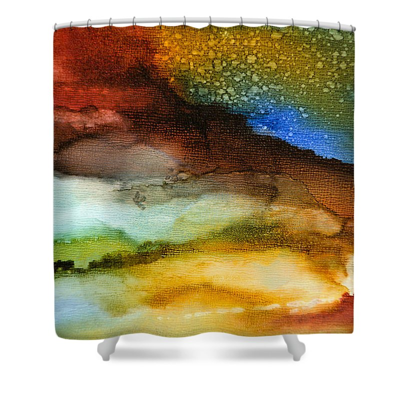 Abstract Shower Curtain featuring the painting Silent Conversations - A - by Sandy Sandy