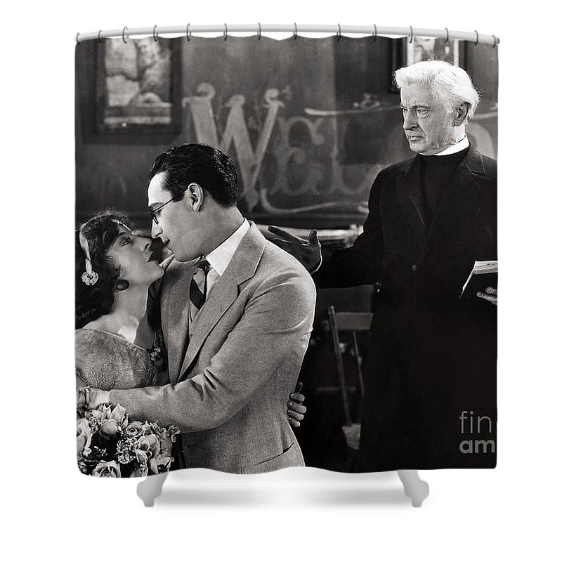 -nec09- Shower Curtain featuring the photograph Silent Film Still: Wedding by Granger