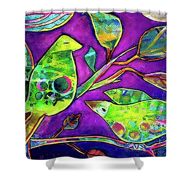 Birds Shower Curtain featuring the painting Silent Night by Minie Ramasamy