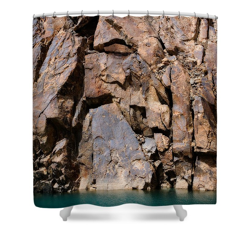 Abstract Shower Curtain featuring the photograph Silent Rocks by Konstantin Dikovsky