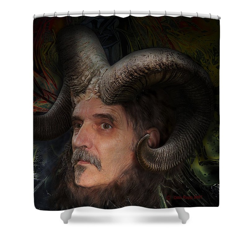 Surrealism Shower Curtain featuring the digital art Silenus by Otto Rapp