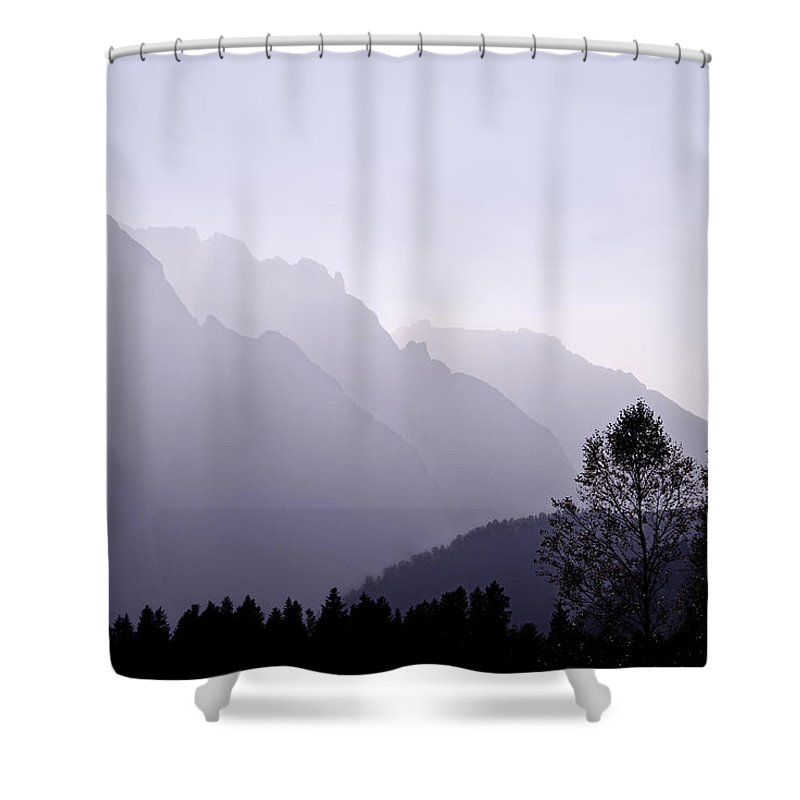 Mountain Silhouette Shower Curtain featuring the photograph Silhouette Austria Europe by Sabine Jacobs