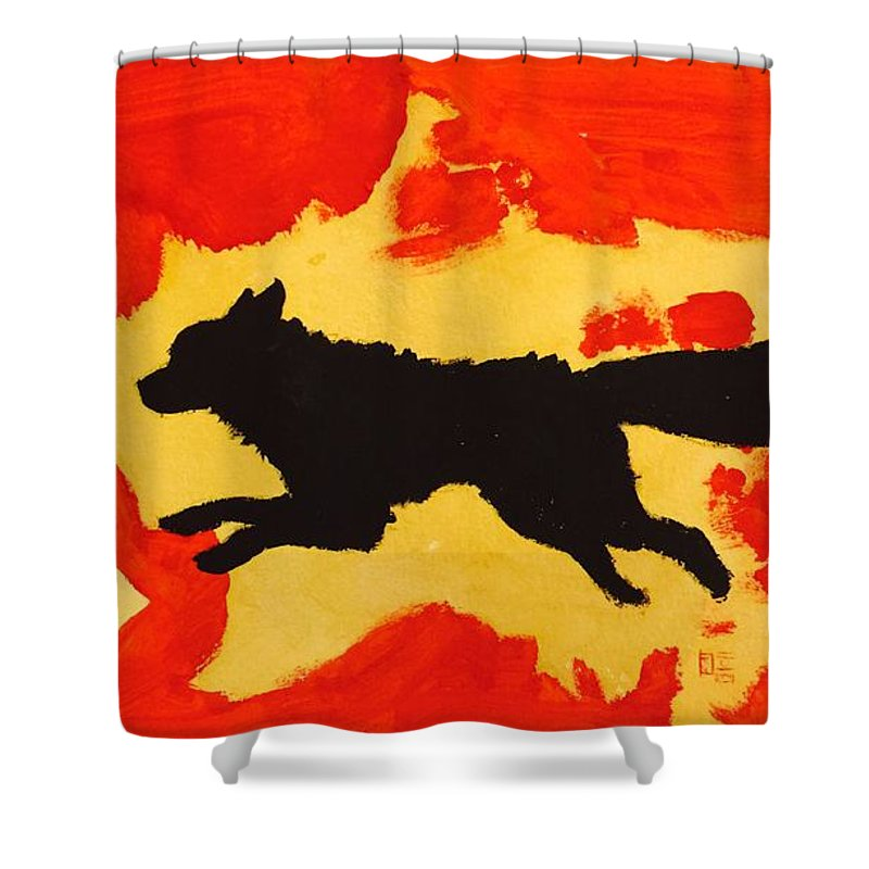 Item Shower Curtain featuring the painting Silhouette Fox by AmaSepia Gittens-Jones' Fox And Fantasy Designs