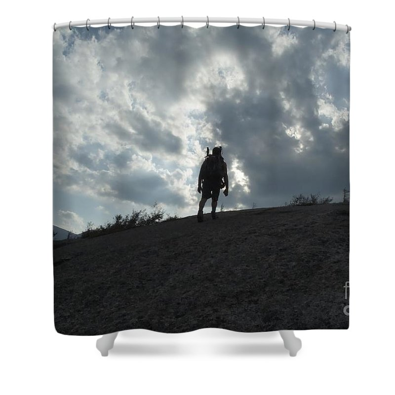 Silhouette Shower Curtain featuring the photograph Silhouette Of A Hiker On Middle Sugarloaf Mountain - White Mountains New Hampshire Usa by Erin Paul Donovan
