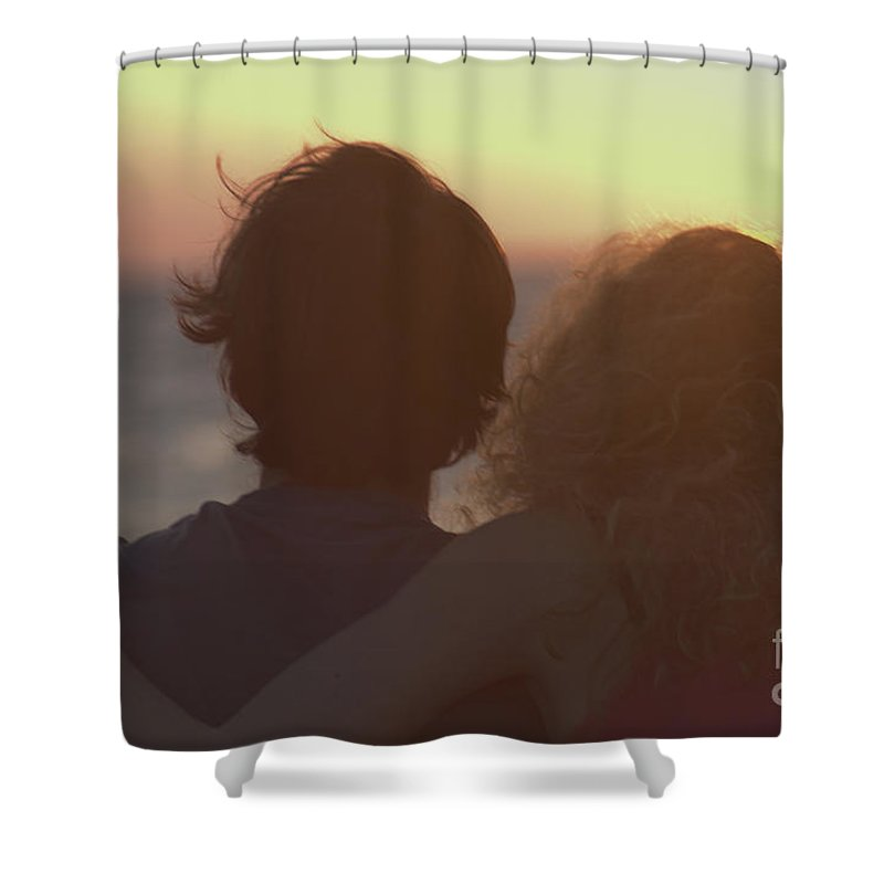 Silhouette Shower Curtain featuring the photograph Silhouette Of A Romantic Couple by Ilan Rosen