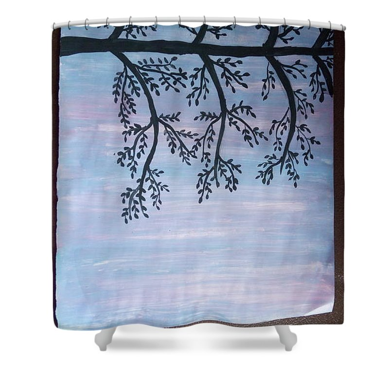 Silhouette Shower Curtain featuring the painting Silhouette Of Tree by Riti Jain