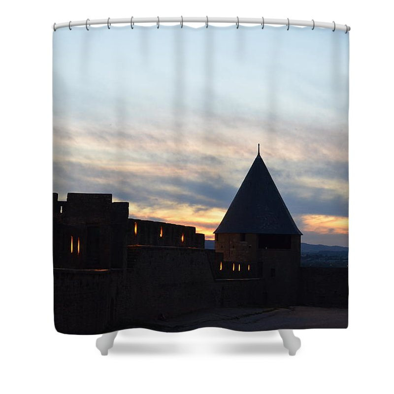 Silhouetted Shower Curtain featuring the photograph Silhouetted Castle by Dawn Crichton