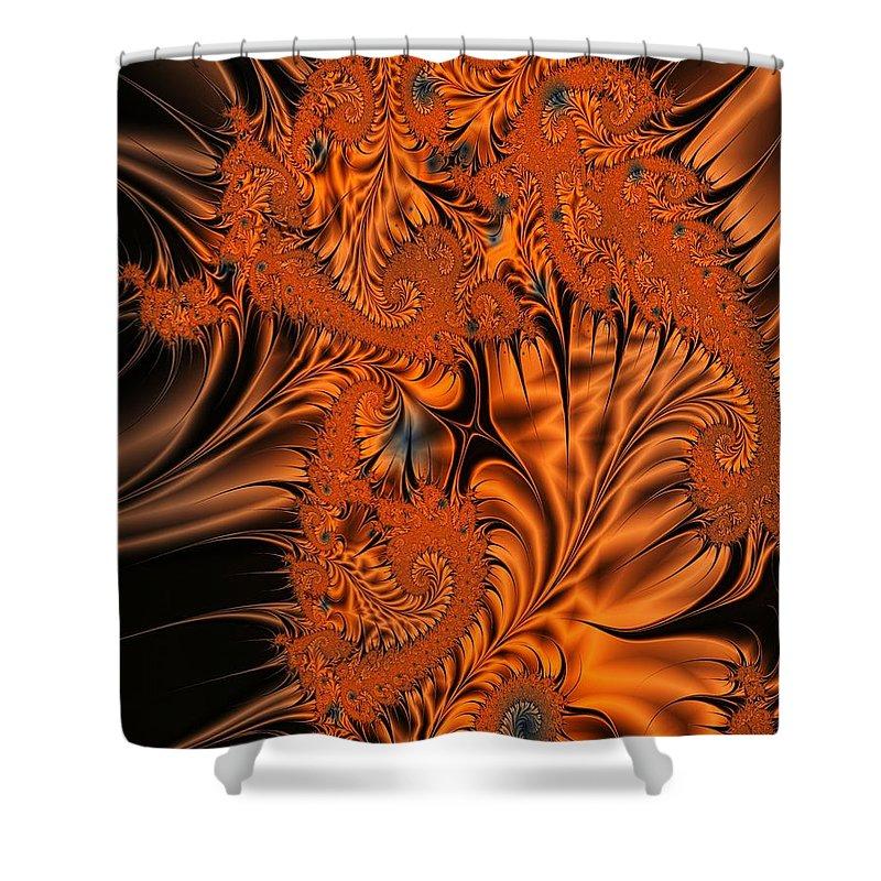 Silk Shower Curtain featuring the digital art Silk in Orange by Ron Bissett