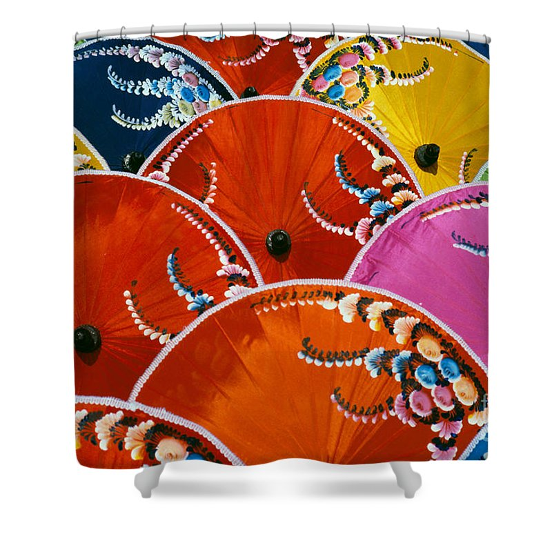 Art Shower Curtain featuring the photograph Silk Umbrella Factory by Gloria & Richard Maschmeyer - Printscapes