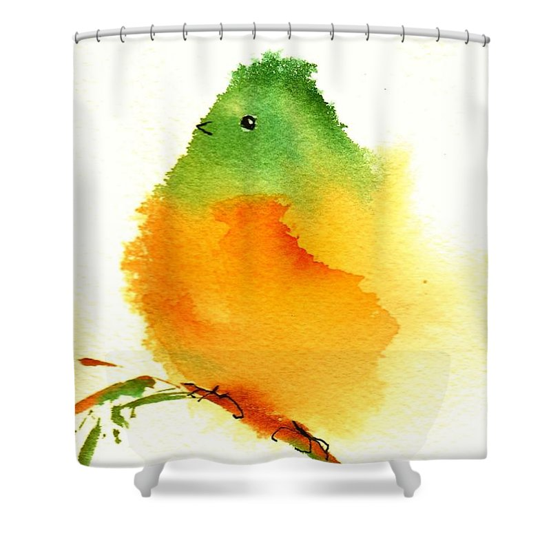 Silly Shower Curtain featuring the painting Silly Bird #3 by Anne Duke