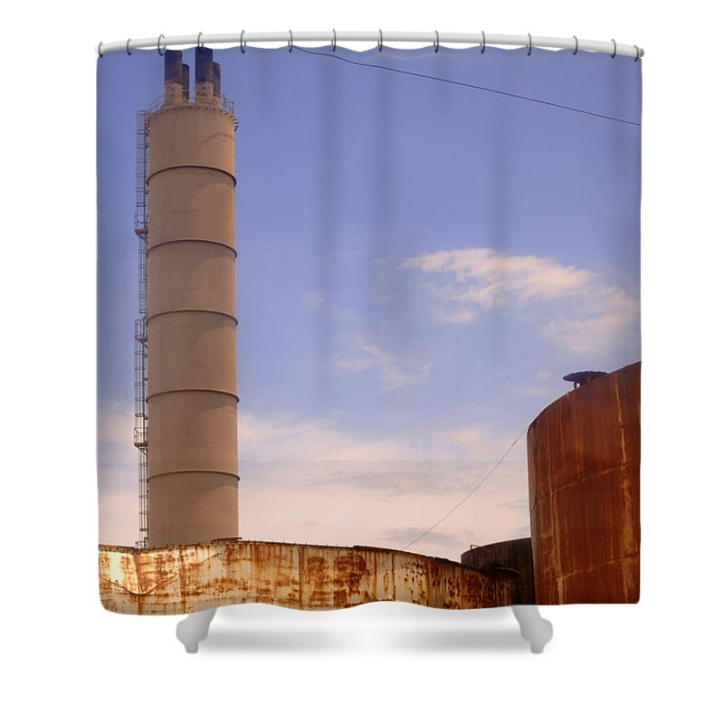 Urban Shower Curtain featuring the photograph Silo Stack by Jill Reger