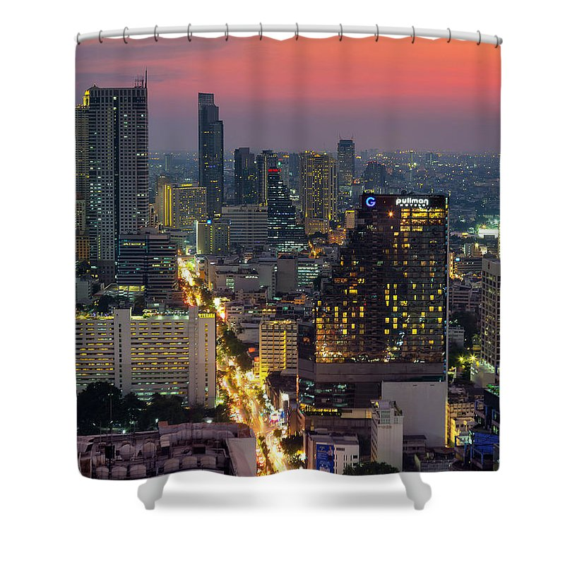 City Shower Curtain featuring the photograph Silom by Marcus Burtenshaw