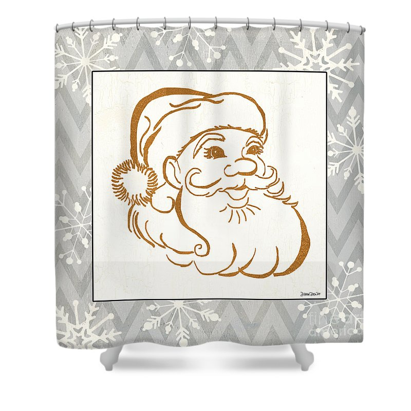 Santa Claus Shower Curtain featuring the painting Silver And Gold Santa by Debbie DeWitt