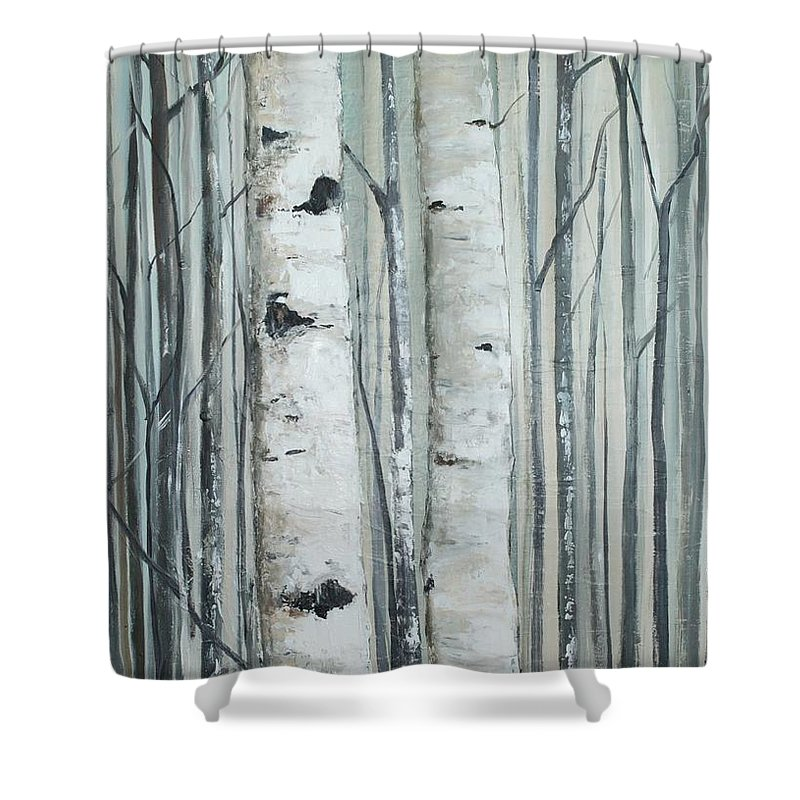 Birch Shower Curtain Featuring The Painting Silver By Michelle Lake