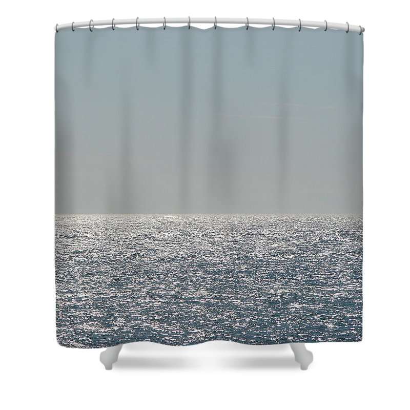 Blue Shower Curtain featuring the photograph Silver Light On Lake Michigan by Michelle Calkins