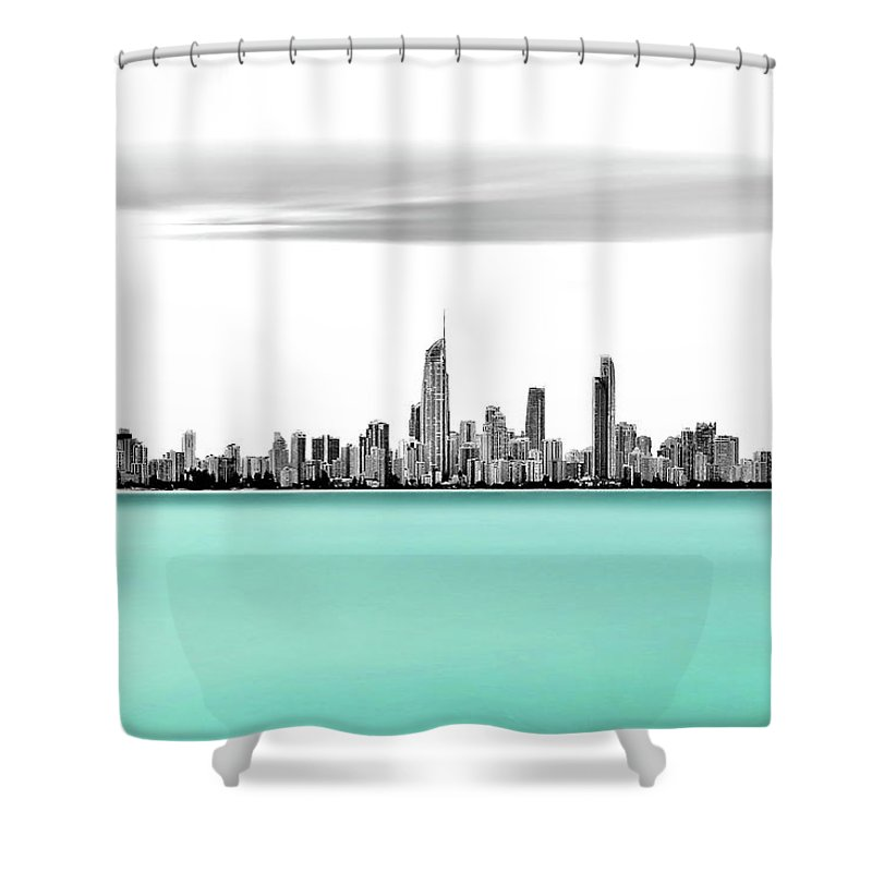 Turquoise And Black Shower Curtains