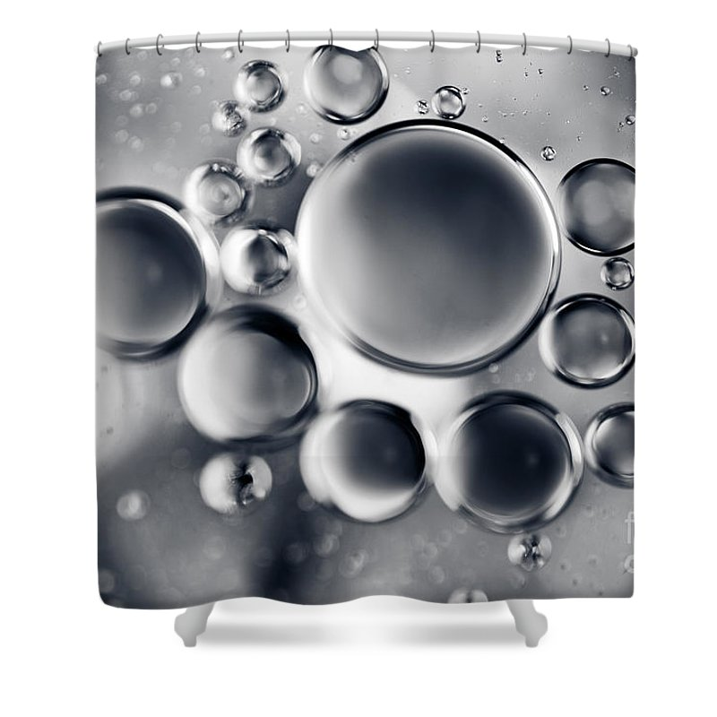 Macro Shower Curtain featuring the photograph Silver Macro Droplets by Sharon Mau