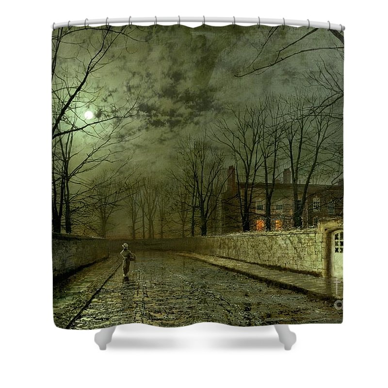 Silver Moonlight Shower Curtain featuring the painting Silver Moonlight by John Atkinson Grimshaw