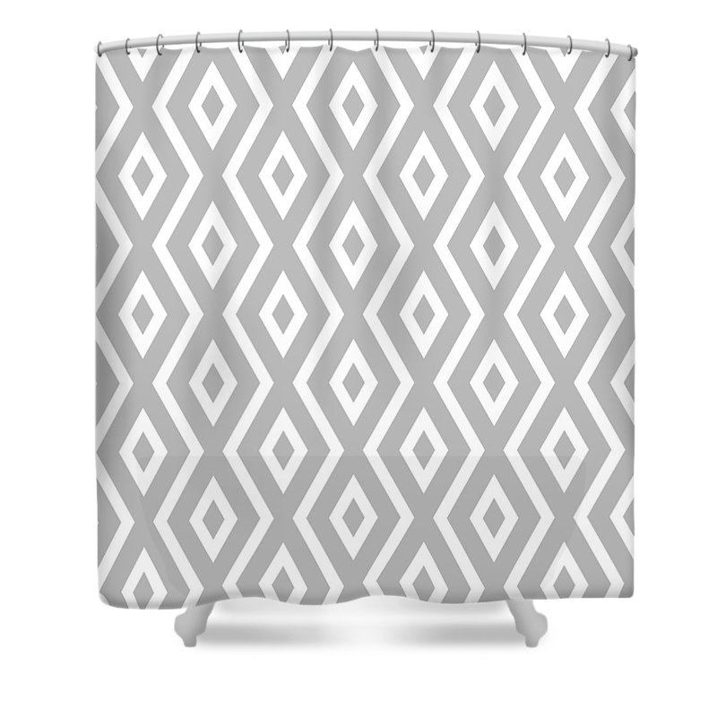 Silver Shower Curtain featuring the mixed media Silver Pattern by Christina Rollo