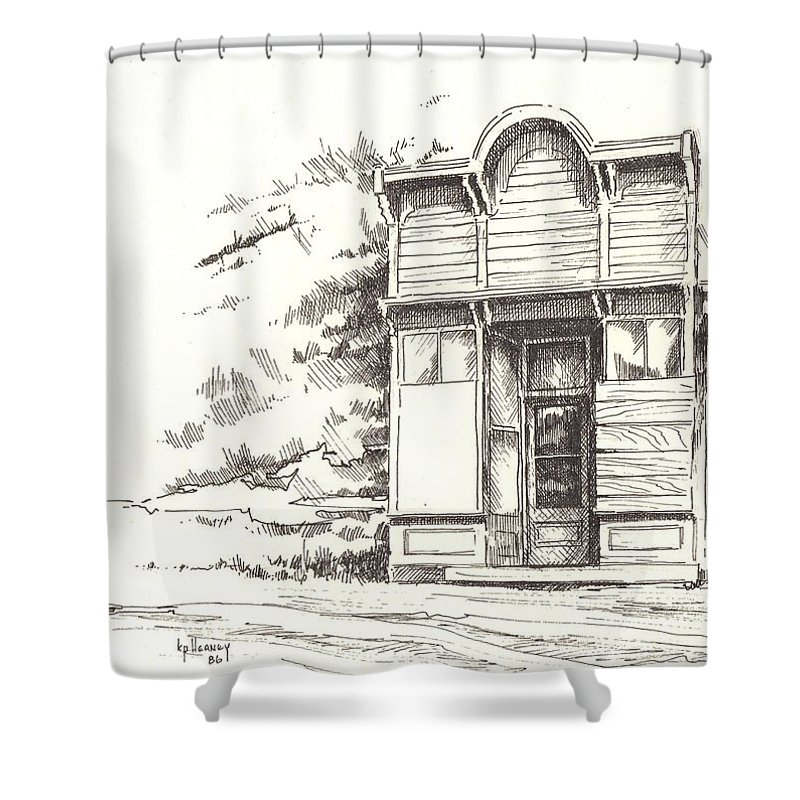 Ghost Town Shower Curtain featuring the drawing Silver Plume Ghost Town Colorado by Kevin Heaney