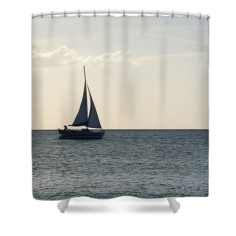 Sailboat Shower Curtain featuring the photograph Silver Sailboat by Jeanne Forsythe