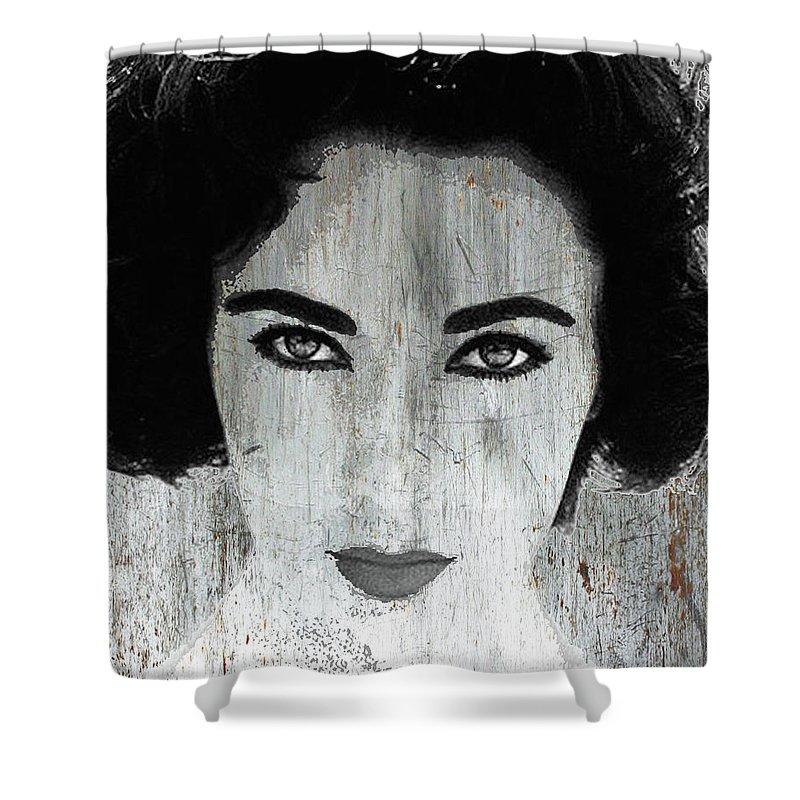 Liz Taylor Shower Curtain featuring the mixed media Silver Screen Liz Taylor by Tony Rubino