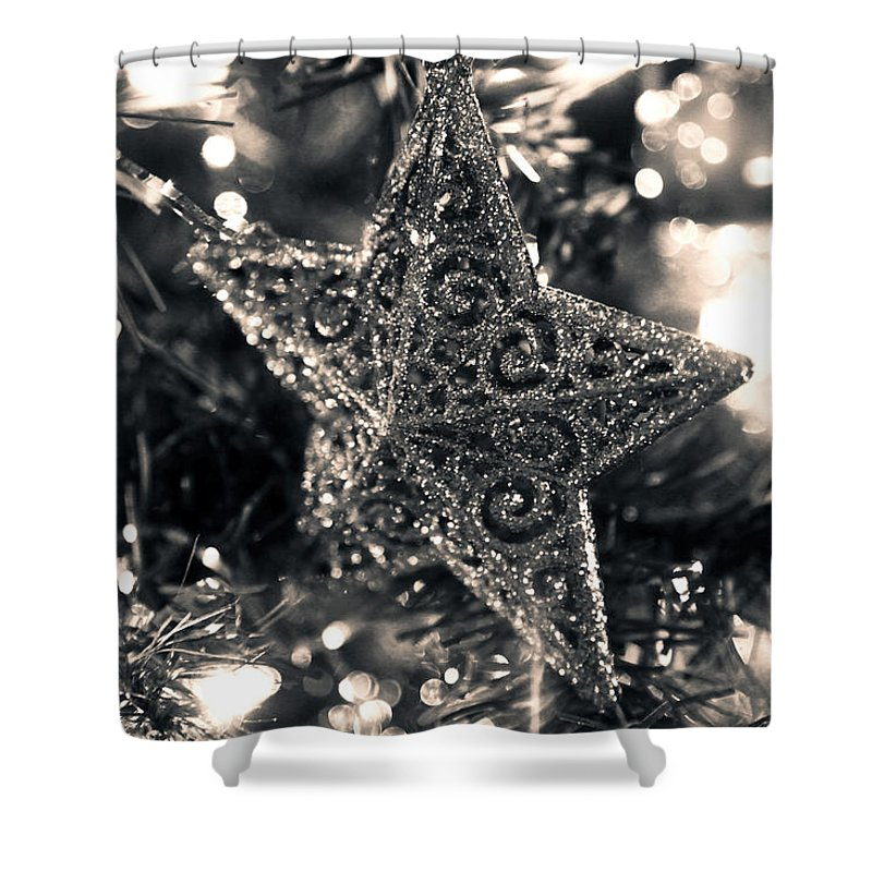 Christmas Shower Curtain featuring the photograph Silver Star by Toni Hopper