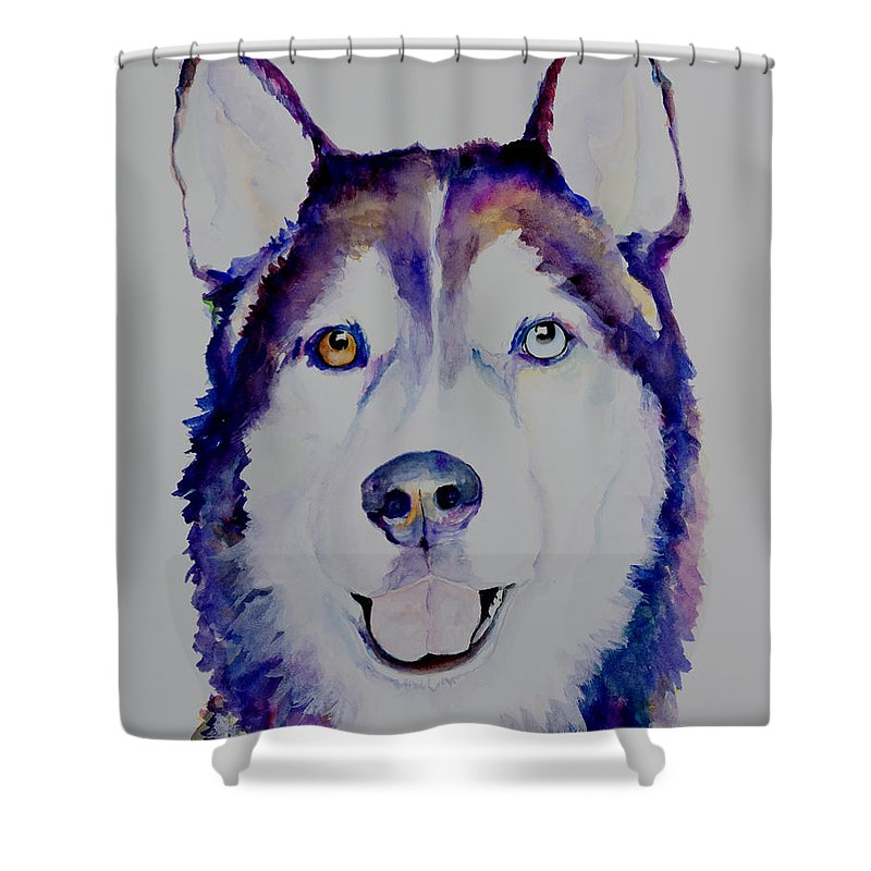 Siberian Husky Shower Curtain featuring the painting Simba by Pat Saunders-White