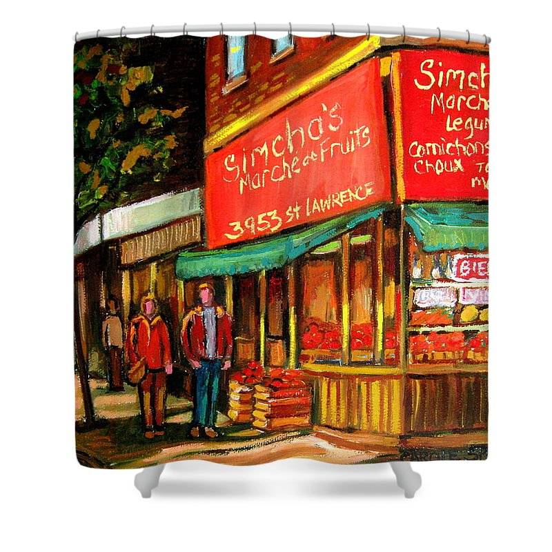 Simchas Fruit Store Shower Curtain featuring the painting Simchas Fruit Store by Carole Spandau