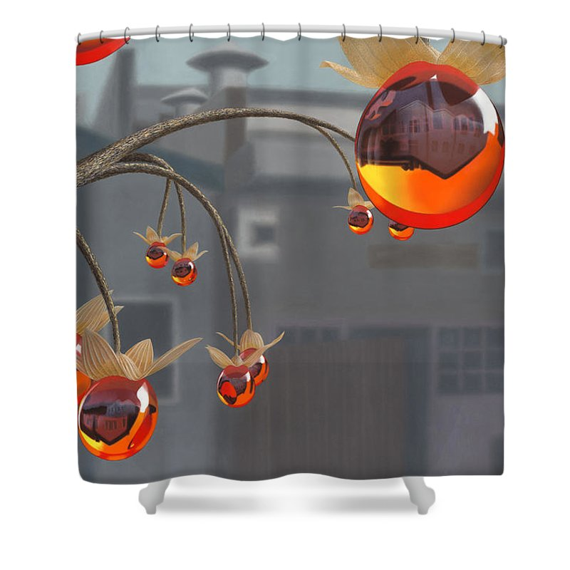 Orange Shower Curtain featuring the painting Simmondsia Vitra by Patricia Van Lubeck