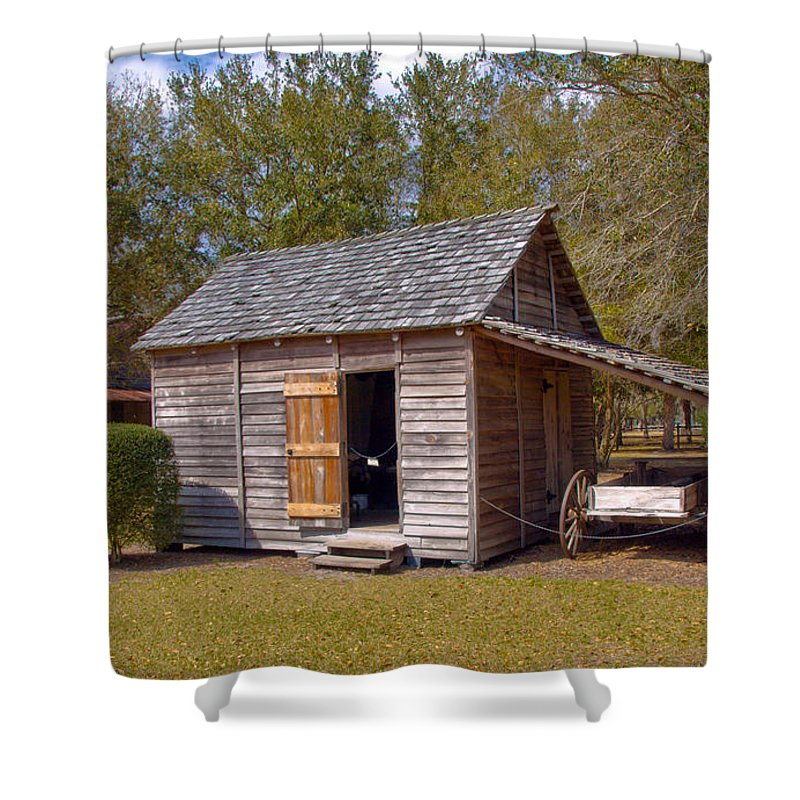 Cabin Shower Curtain featuring the photograph Simmons Cabin Built In 1873 In Orange County Florida by Allan Hughes