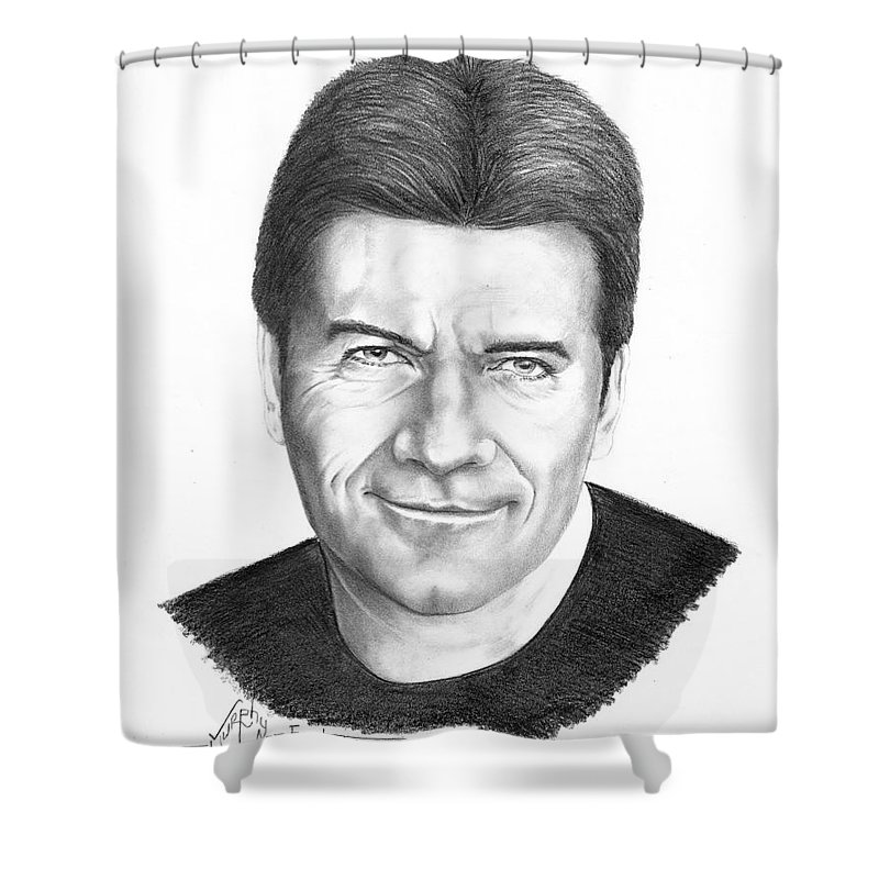 Portrait Shower Curtain featuring the drawing Simon Cowell by Murphy Elliott
