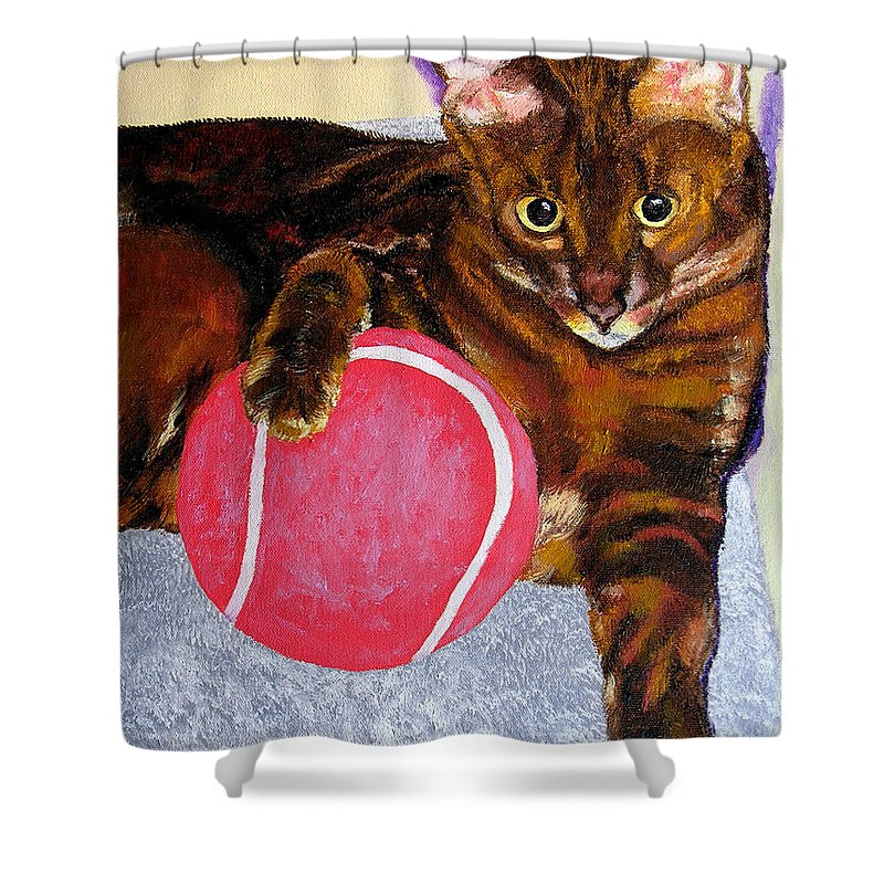 Cat Shower Curtain featuring the painting Simon by Stan Hamilton