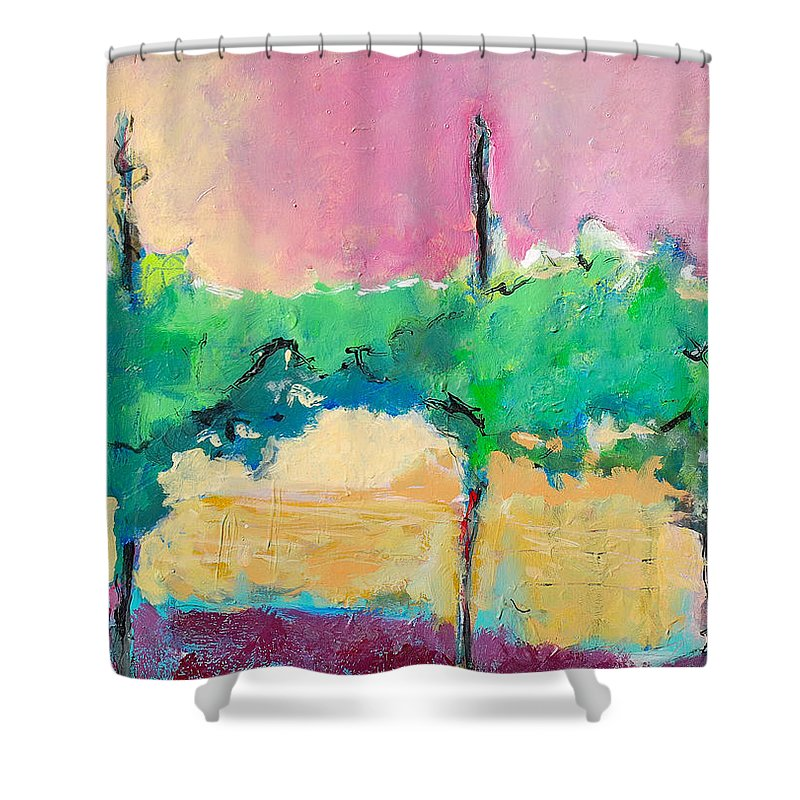Vineyard Shower Curtain featuring the painting Simpatico by Kurt Hausmann