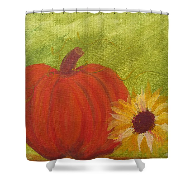Pumpkin Shower Curtain featuring the painting Simple Lone Pumpkin by Barbara McDevitt