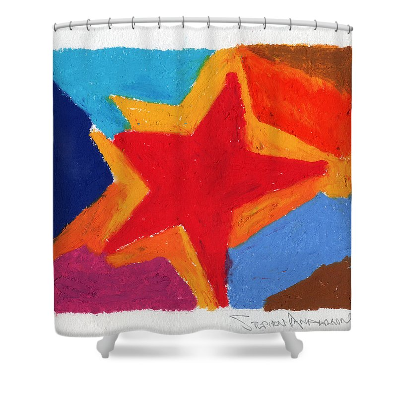 Star Shower Curtain featuring the painting Simple Star by Stephen Anderson