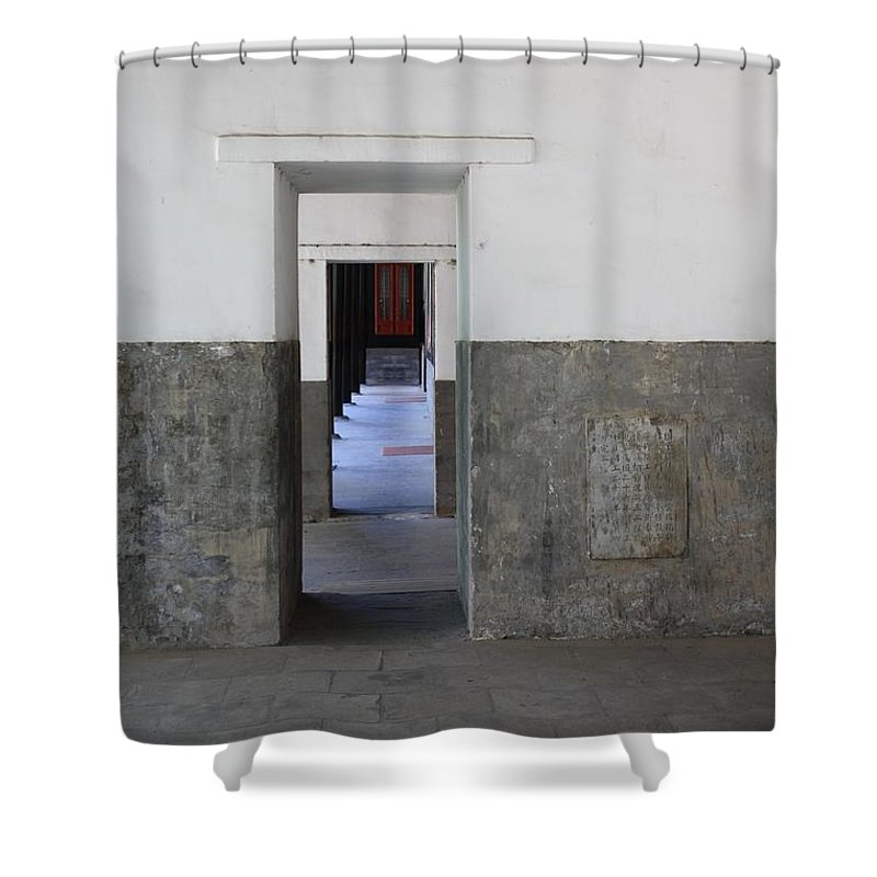 Temple Doors Shower Curtain featuring the photograph Simplicity by Carol Groenen